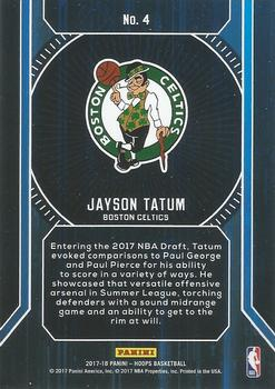 2017-18 Hoops - Faces of the Future #4 Jayson Tatum Back