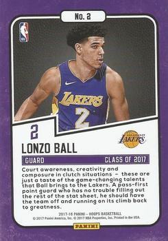 2017-18 Hoops - Class of 2017 #2 Lonzo Ball Back