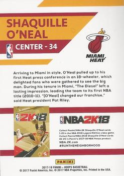 2017-18 Hoops - Shaquille O'Neal NBA 2K #NNO Shaquille O'Neal Back
