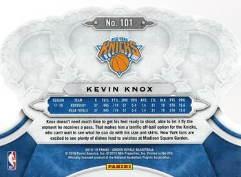 2018-19 Panini Crown Royale #101 Kevin Knox Back