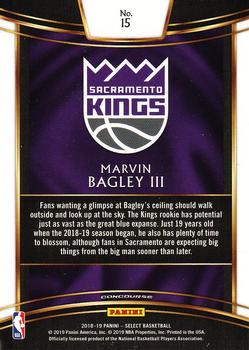 2018-19 Panini Select #15 Marvin Bagley III Back