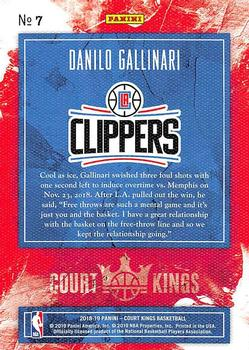 2018-19 Panini Court Kings #7 Danilo Gallinari Back