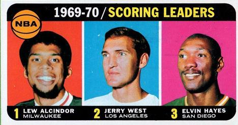 1970-71 Topps #1 1969-70 Scoring Leaders (Lew Alcindor, Jerry West, Elvin Hayes) Front