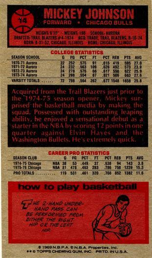 Verzamelkaarten, ruilkaarten Basketbal 1976-77 Topps #14 Mickey Johnson Chicago Bulls RC Rookie Basketball Card