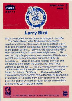 1986-87 Fleer - Stickers #2 Larry Bird Back