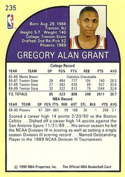 1990-91 Hoops #235 Greg Grant Back