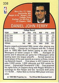 1990-91 Hoops #336 Danny Ferry Back