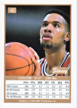 1990-91 SkyBox #42 Stacey King Back
