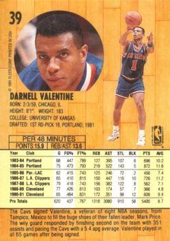 1991 92 Fleer #39 Darnell Valentine Back