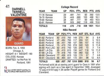 1991 92 Hoops #41 Darnell Valentine Back