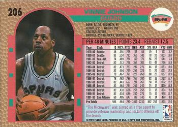 1992-93 Fleer #206 Vinnie Johnson Back