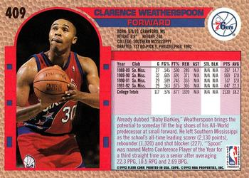 1992-93 Fleer #409 Clarence Weatherspoon Back