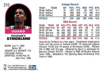 1992-93 Hoops #210 Rod Strickland Back