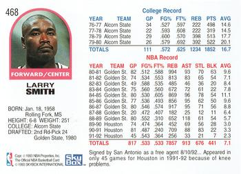 1992-93 Hoops #468 Larry Smith Back