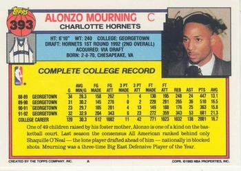 1992-93 Topps #393 Alonzo Mourning Back