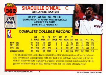 1992-93 Topps #362 Shaquille O'Neal Back