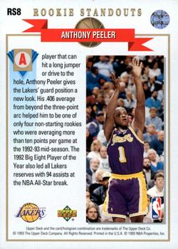 1992-93 Upper Deck - Rookie Standouts #RS8 Anthony Peeler Back