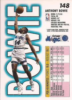 1993-94 Fleer #148 Anthony Bowie Back