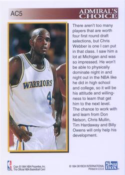 1993-94 Hoops - Admiral's Choice #AC5 Chris Webber Back