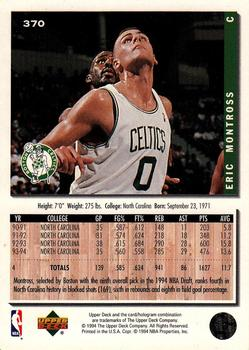 1994-95 Collector's Choice #370 Eric Montross Back