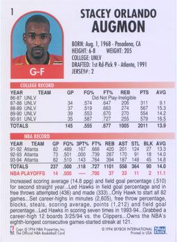 1994-95 Hoops #1 Stacey Augmon Back