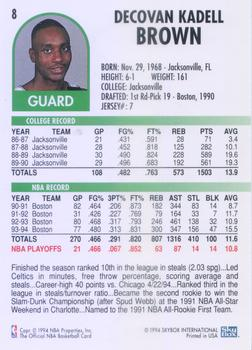 1994-95 Hoops #8 Dee Brown Back