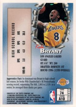 1996-97 Finest #74 Kobe Bryant Back