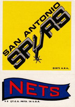 1973-74 Topps - Team Stickers #NNO San Antonio Spurs / Nets Front