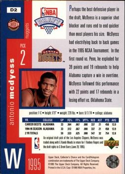 1995-96 Collector's Choice - Draft Trade #D2 Antonio McDyess Back