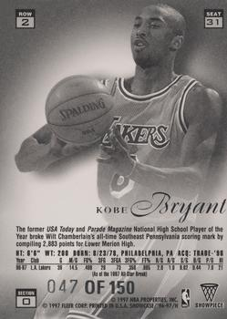 1996-97 Flair Showcase Row 2 - Legacy Collection Row 2 #31 Kobe Bryant Back