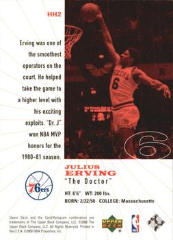 1999-00 Upper Deck Legends - History's Heroes #HH2 Julius Erving Back