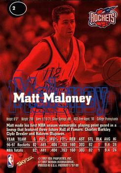 1997-98 SkyBox Premium #2 Matt Maloney Back