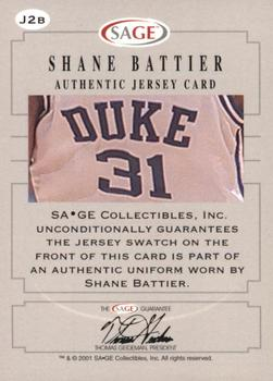 2001 SAGE - Authentic Jerseys Gold #J2b Shane Battier White Back