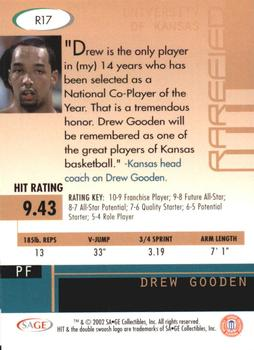 2002 SAGE HIT - Rarefied Emerald #R17 Drew Gooden Back