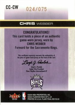 2003-04 Flair Final Edition - Courtside Cuts Jerseys (75) #CC-CW Chris Webber Back