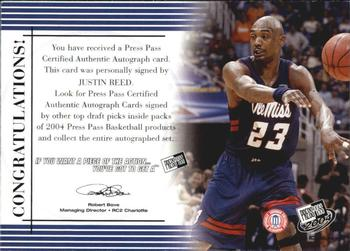 2004 Press Pass - Autographs #26 Justin Reed Back