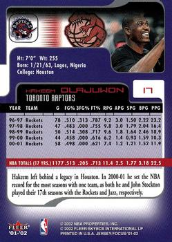 2001-02 Fleer Focus  17 Hakeem Olajuwon Back b61c44988