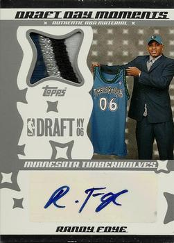 2006-07 Topps Big Game - Draft Day Moments Patches Autographs #DDMPA-RF Randy Foye Front