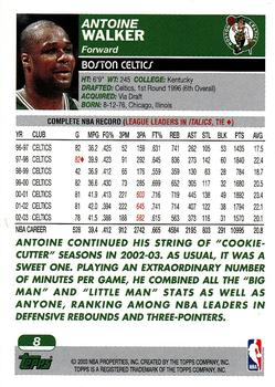 2003-04 Topps #8 Antoine Walker Back