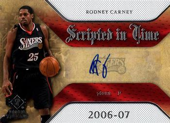 2007-08 SP Rookie Threads - Scripted in Time #SIT-RC Rodney Carney Front