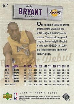 2005-06 Upper Deck Rookie Debut #42 Kobe Bryant Back