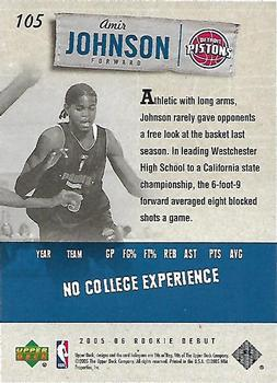 2005-06 Upper Deck Rookie Debut #105 Amir Johnson Back