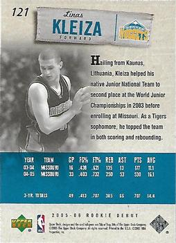 2005-06 Upper Deck Rookie Debut #121 Linas Kleiza Back