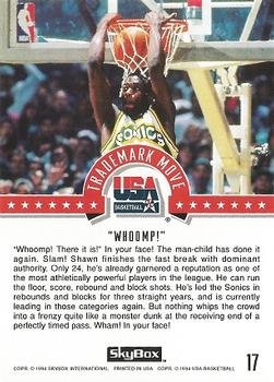 1994 SkyBox USA #17 Shawn Kemp Back