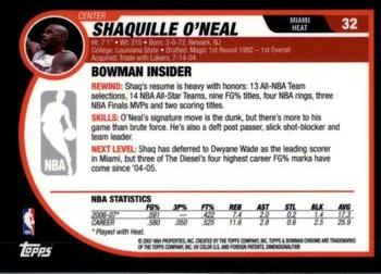 2007-08 Bowman #32 Shaquille O'Neal Back