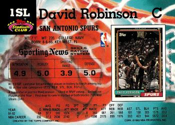 1993 Kenner Starting Lineup Cards #1SL David Robinson Back