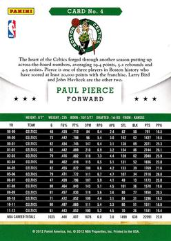 2012-13 Hoops #4 Paul Pierce Back