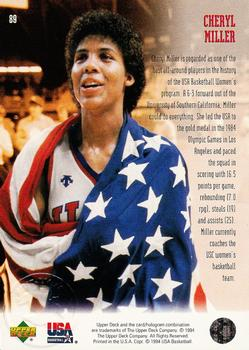 1994 Upper Deck USA #89 Cheryl Miller Back