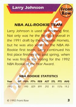 1992 Front Row Dream Picks #3 Larry Johnson Back