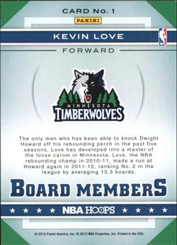 2012-13 Hoops - Board Members #1 Kevin Love Back